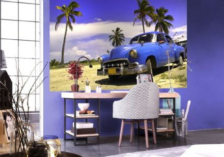 Old style blue car - retro wall murals